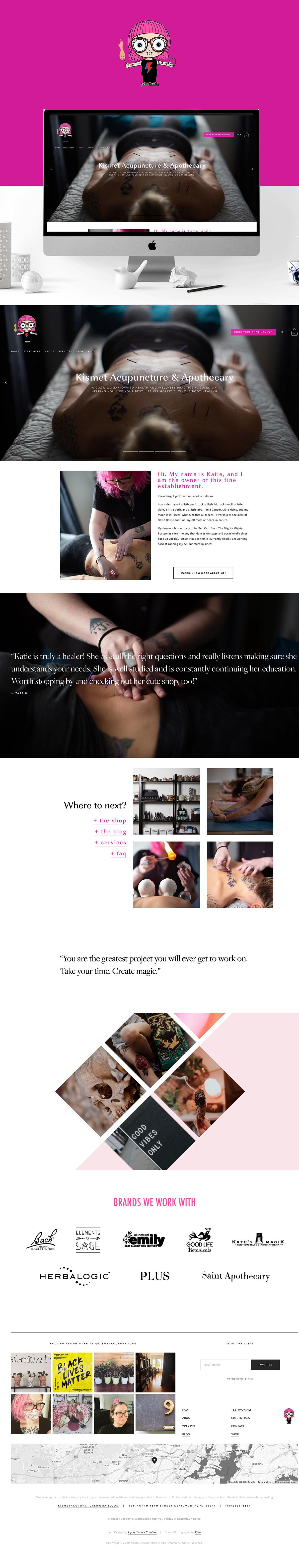 acupuncture branding  business Creative Direction  design pink Web Design  web dev Website Wellness