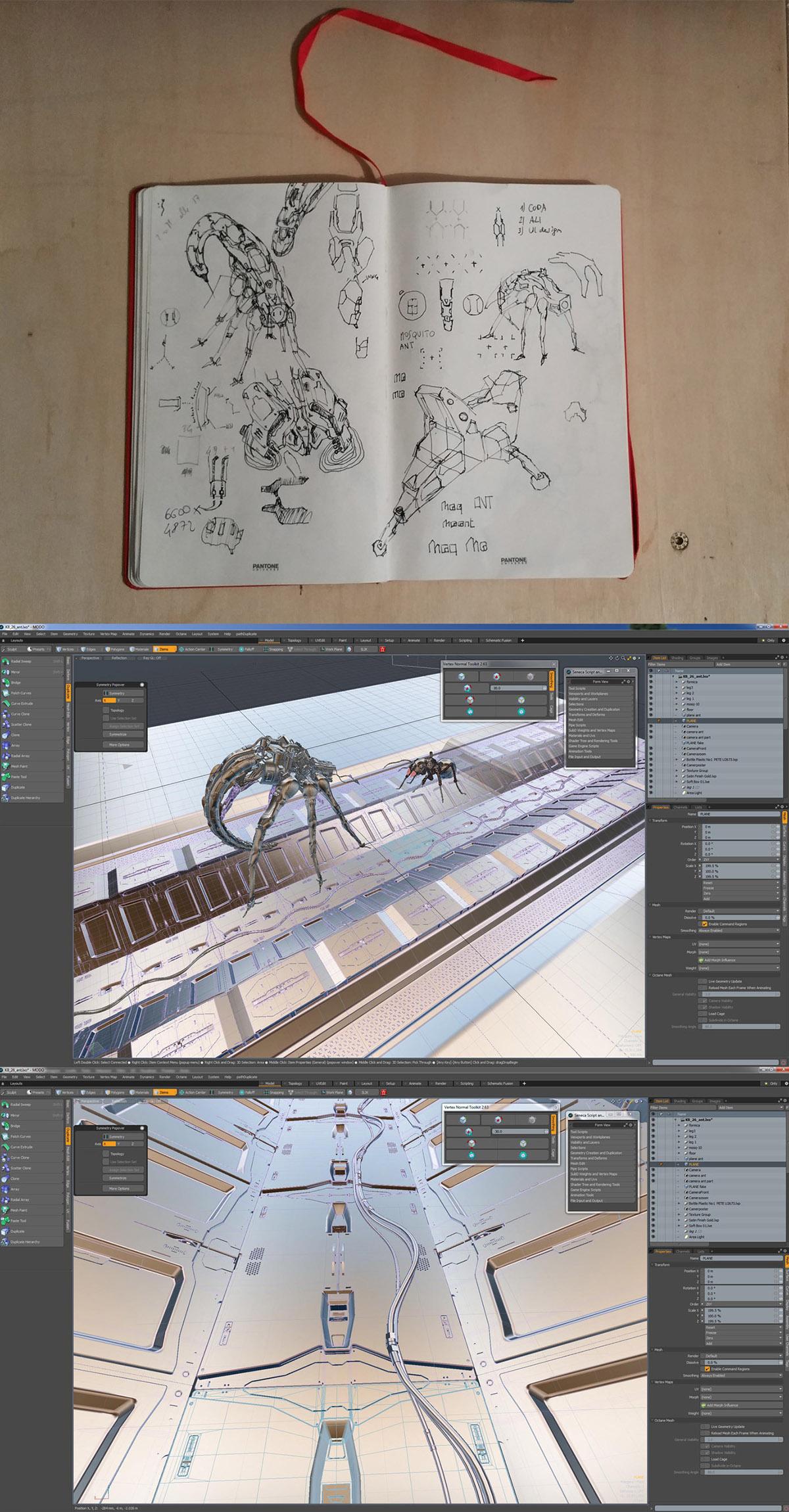 mosquito ant Scifi Nature UI HUD Interface creature corridor 3D CGI robotic mecha biomechanical