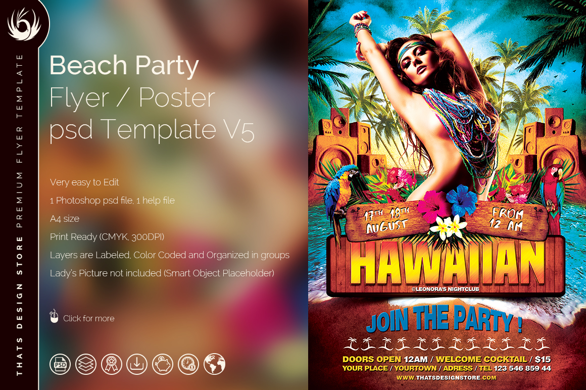 Beach Party Flyer Template V5 On Behance