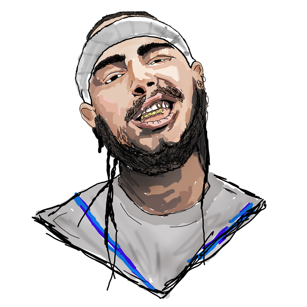Post Malone Drawing: Portrait Illustrations On Behance
