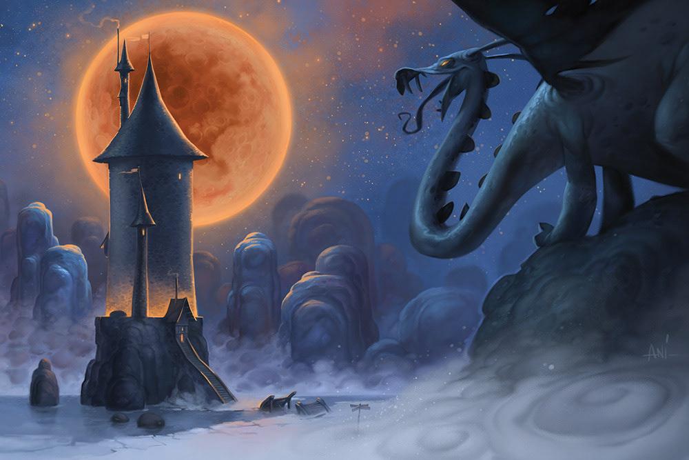 fantasy,sorcerer,dragon,Castle