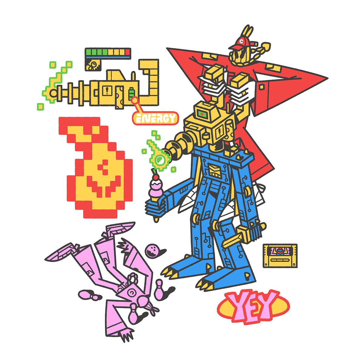 artwork colorfull Digital Art  graphic design  illsutration photoshop robots stickers tshirt typography
