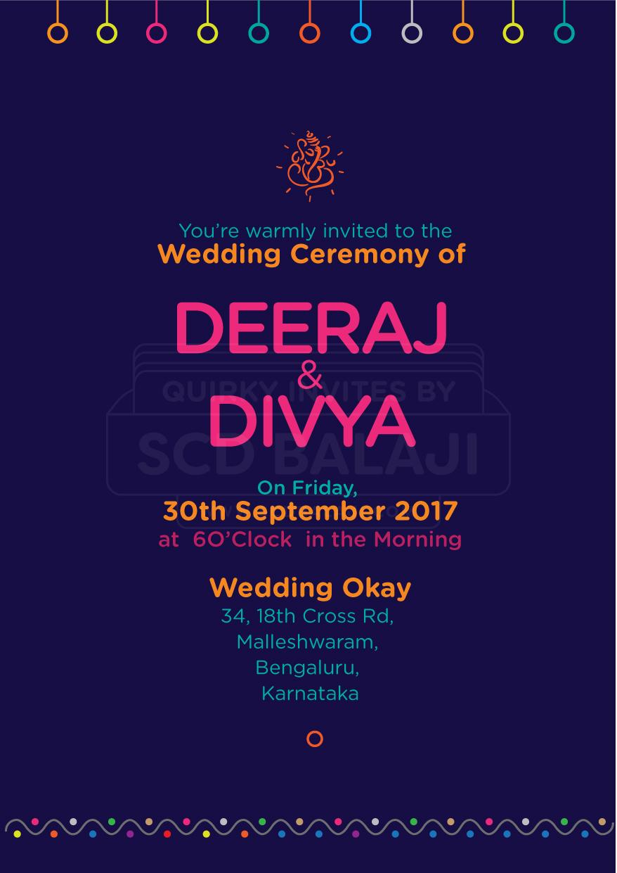 Indian Wedding Invitation Suite In Urban Warli Folk Art On