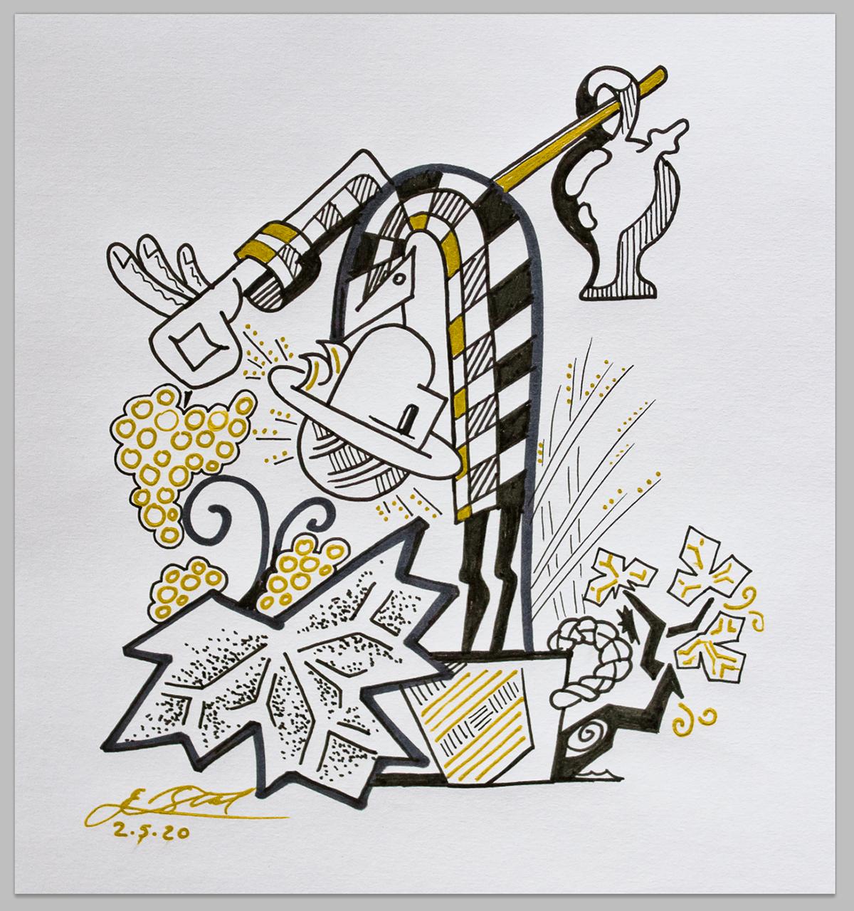 bottle design ilustracion ilustration ink Label vino wine