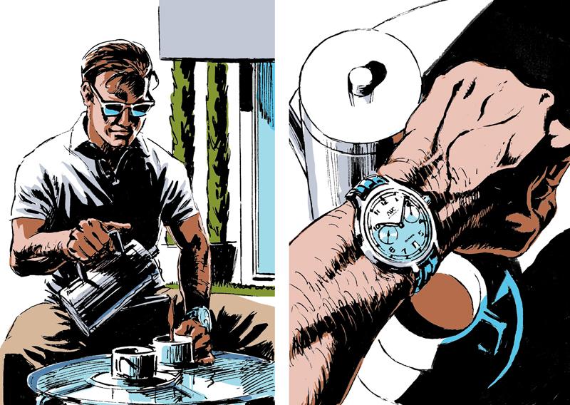 comic,Graphic Novel,Watches,horology,Retro,mid century,mercedes,pen drawing,james bond