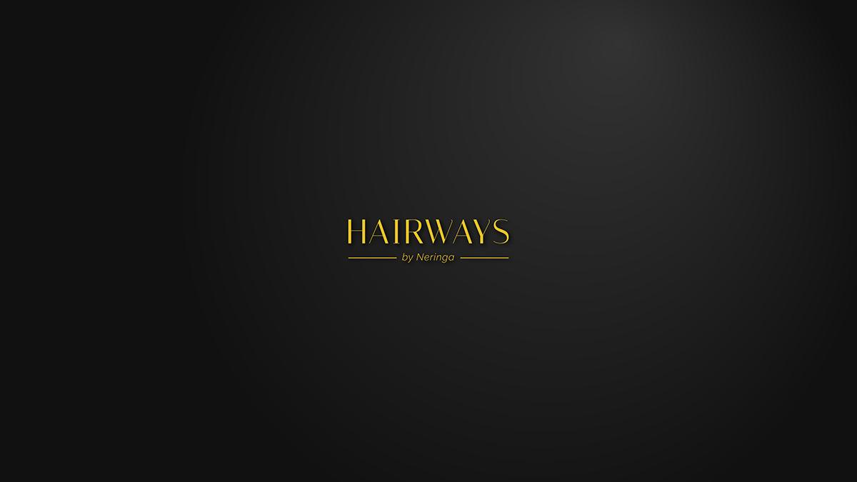 logo pricelist hairways Hair Salon black color Logotype branding