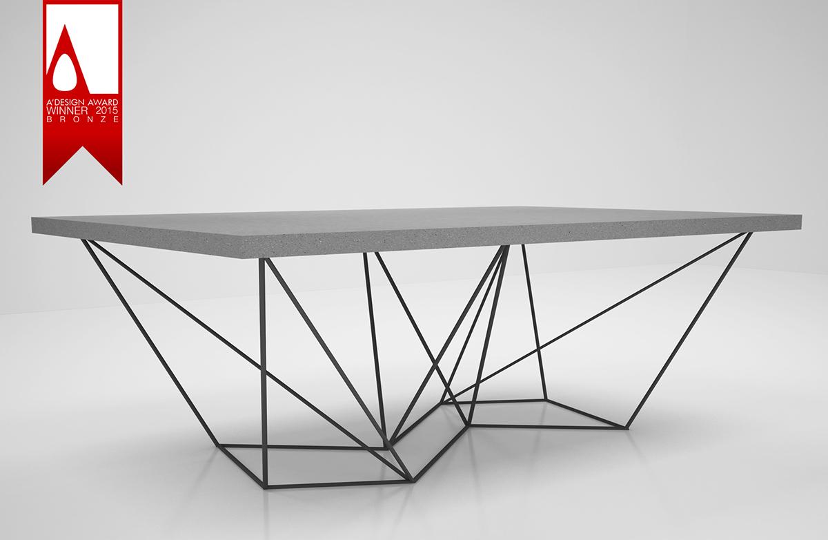 table steel Konis concrete award metal industrial kourasanit