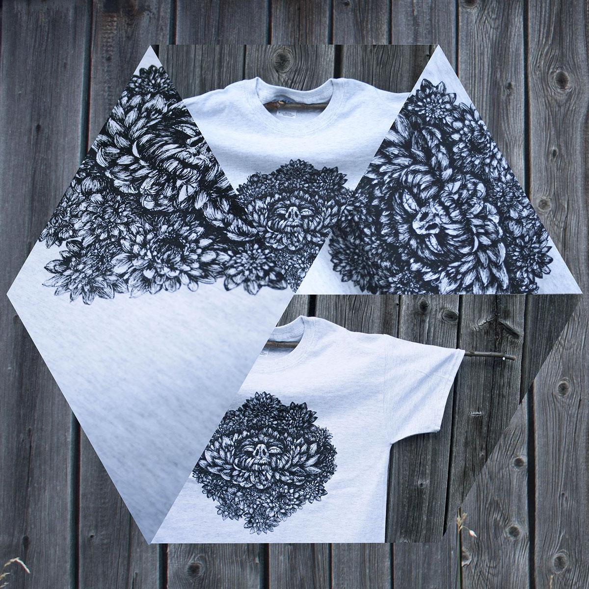 screen printing top ink drawing Flowers head t-shirt
