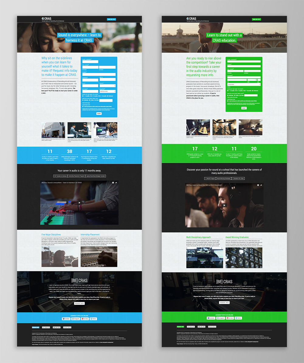 Audio school continuing education Sound Design  trade school Direct mail digital design b2c