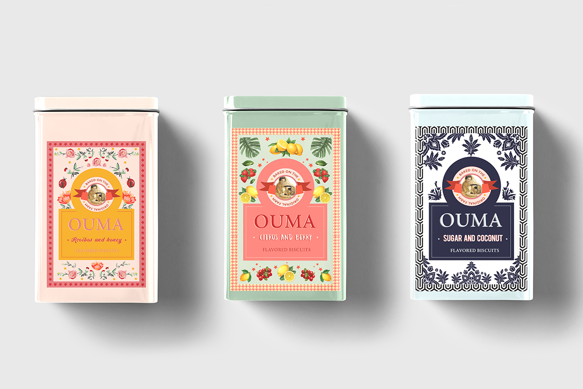 Ouma biscuit labels designed by Rebecca Berrington