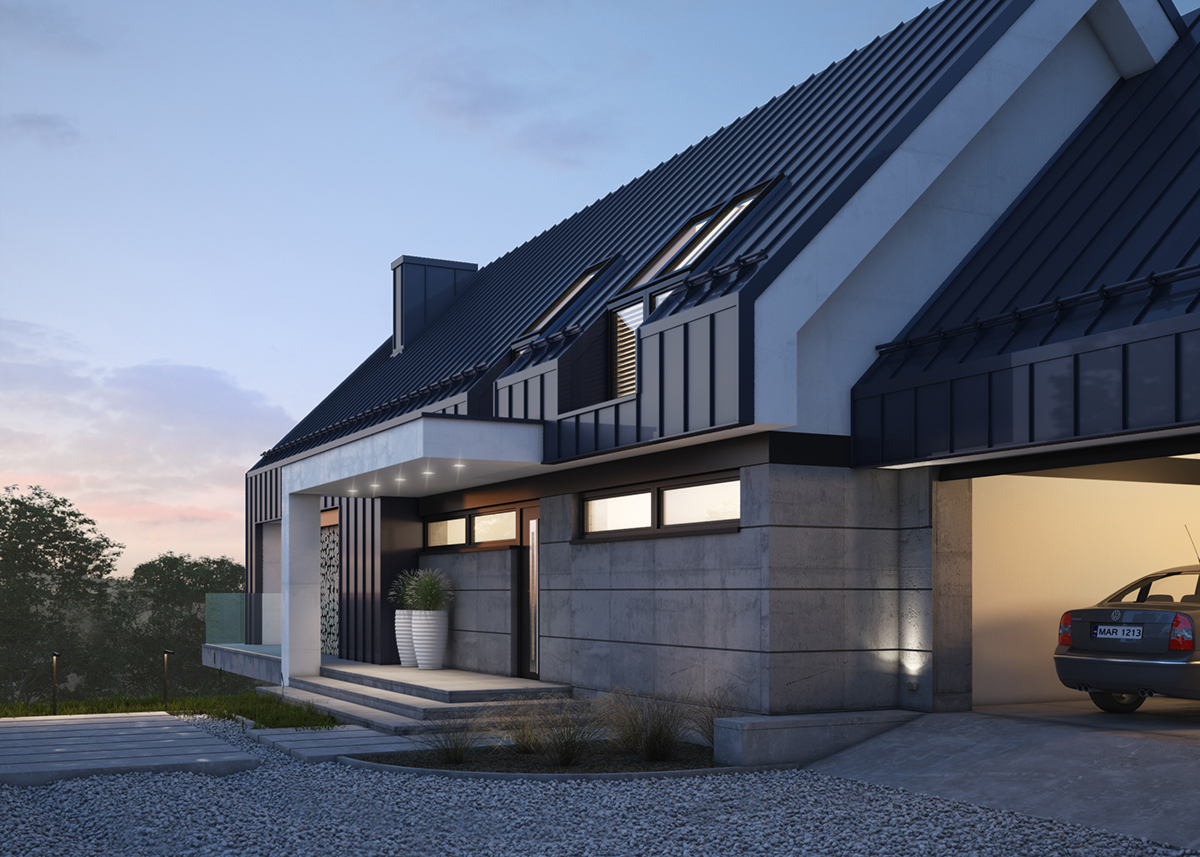 MODERN SINGLE-FAMILY HOUSE, (vis. for lk-projekt.pl) on ...