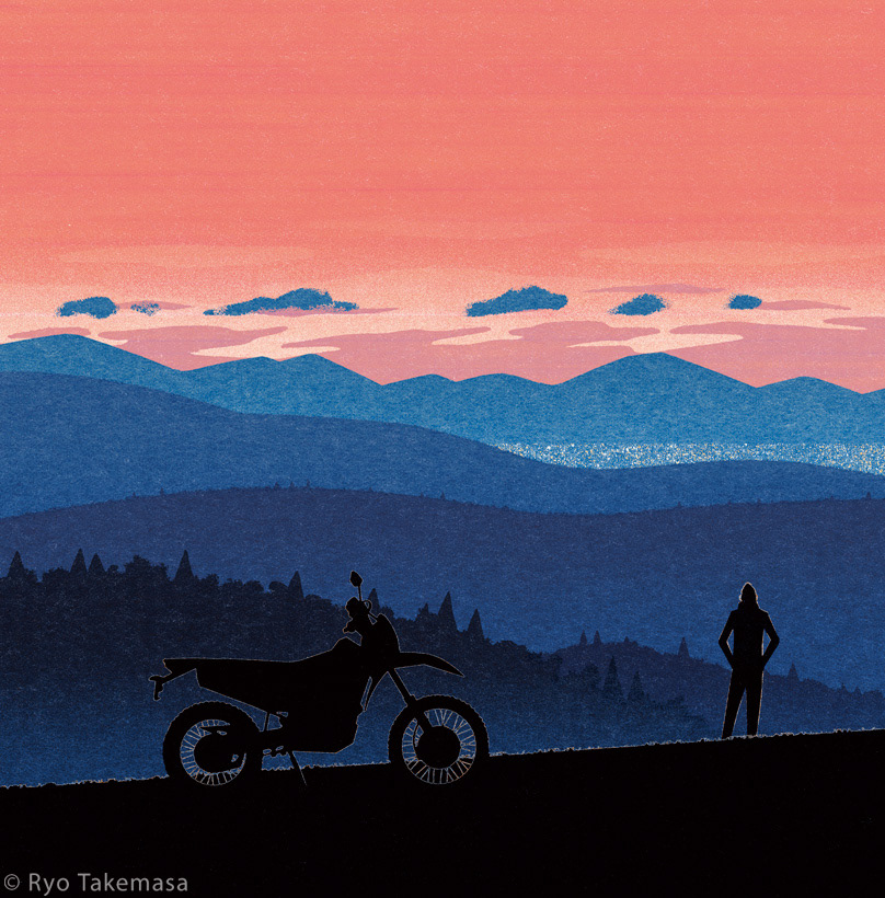 autumn Evening Fall Landscape motorcycle mountain
