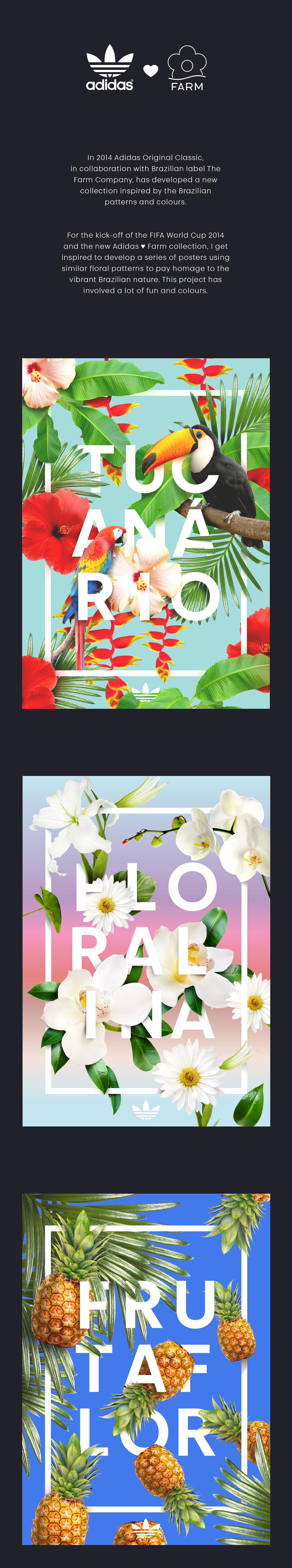 adidas farm poster Brasil pattern tucanario floralina frutaflor colours Flowers Collection series Fun Illustrator photoshop