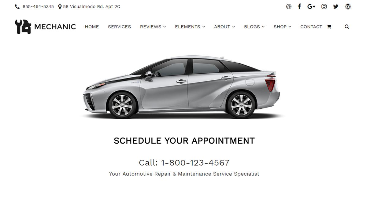 Mechanic WordPress Theme - Header - Car Repair on Behance