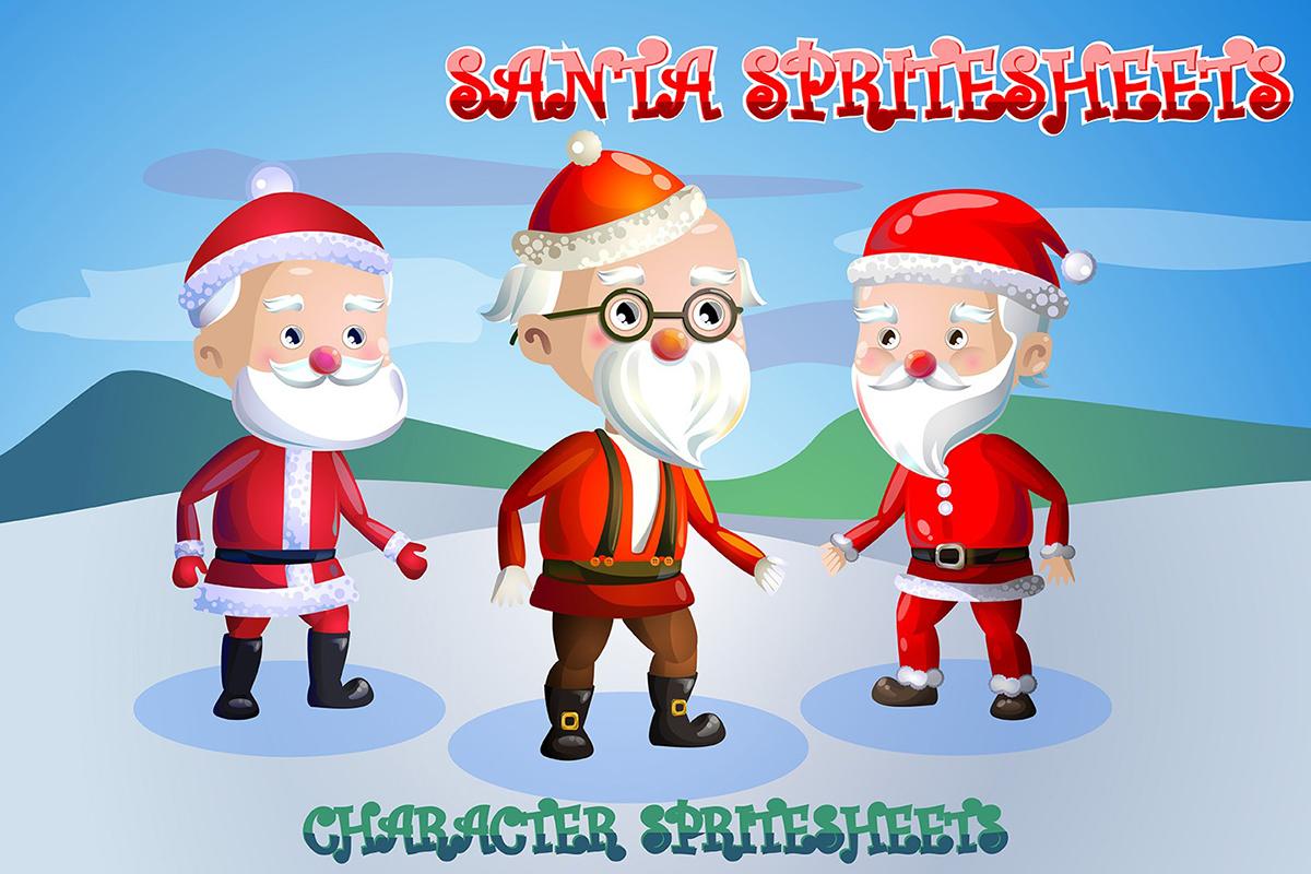 2d game santa character sprite sheets on behance - Santa Sheets