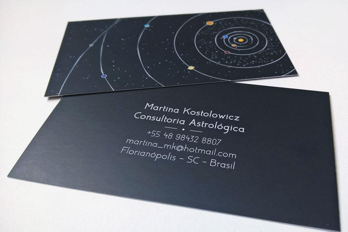 Cartão de Visita business card Astrology astróloga simples produção gráfica