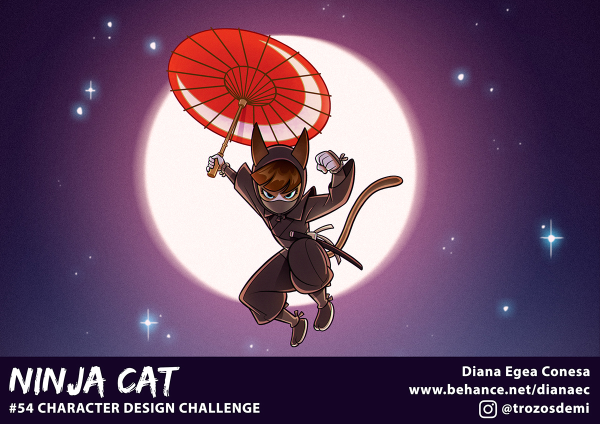 Character design  Character ninja Kunoichi Cat cdc characterdesignchallenge ILLUSTRATION  Model Sheet