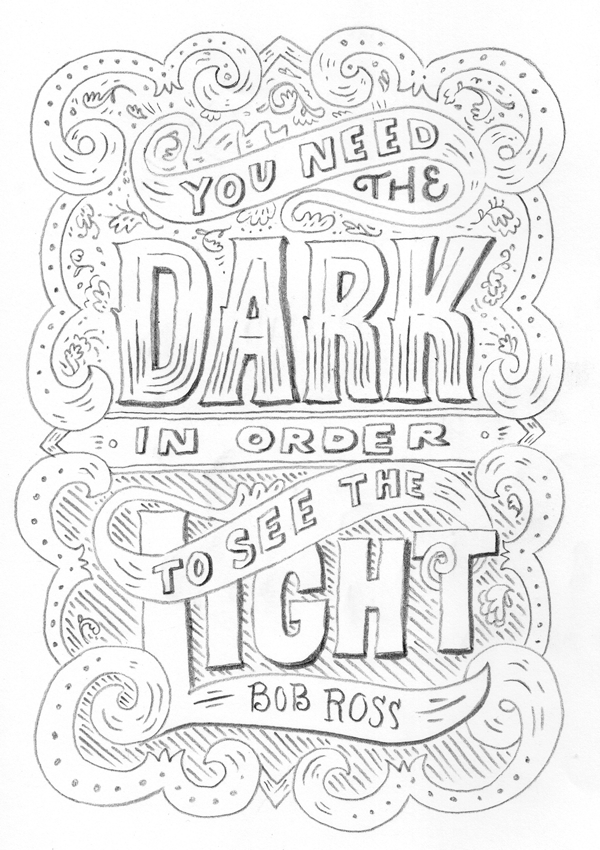 D Line Drawings Quotes : Bob ross quote on behance