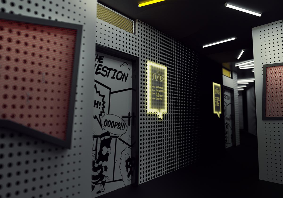 Interior comics White quest Space design comics interior 3D 3d render Render interior render 3d modeling tile wire
