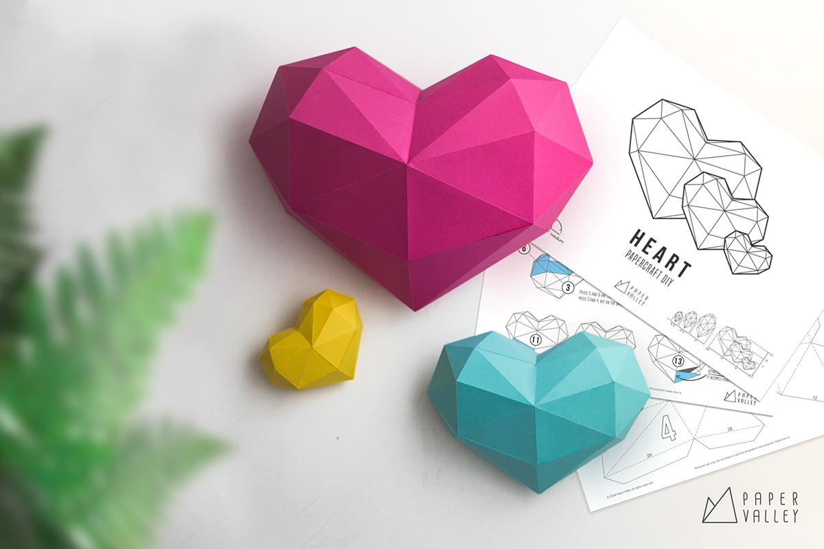 Geometric Heart Papercraft 3D Host Gift Polygonal Heart Papercraft DXF DIY Heart Low Poly Sweet 16 Gift Valentine Heart SVG 3D Origami