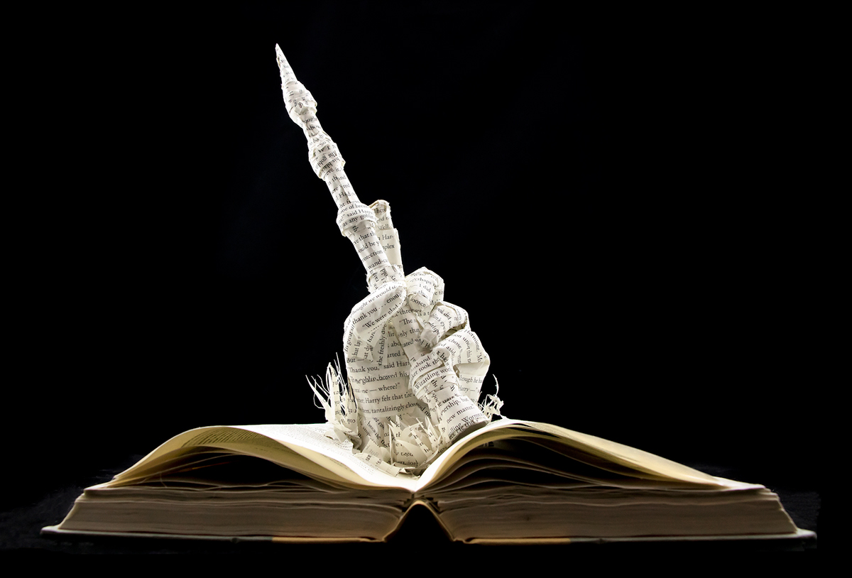 The elder wand harry potter book sculpture on behance for Elder harry potter