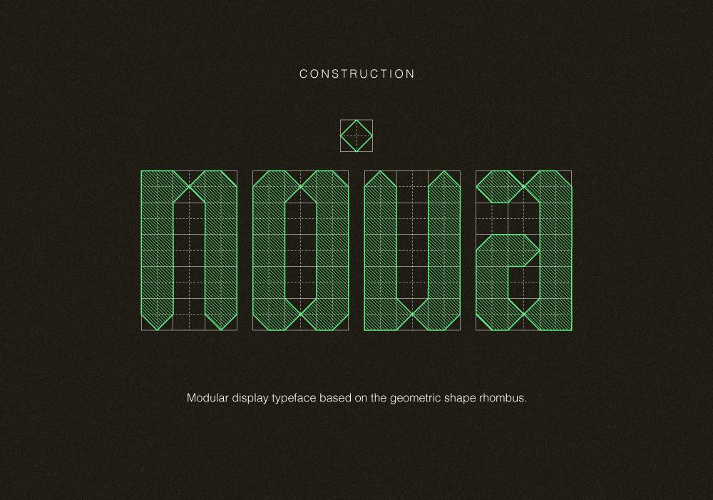 Typeface rhombus geometric font
