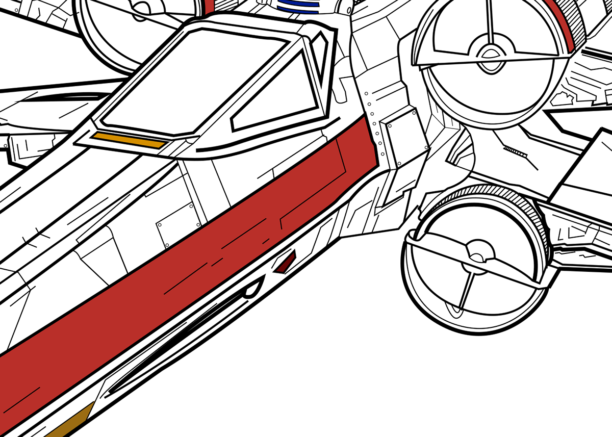 X Wing Line Drawing : X wing fighter technical drawing on behance