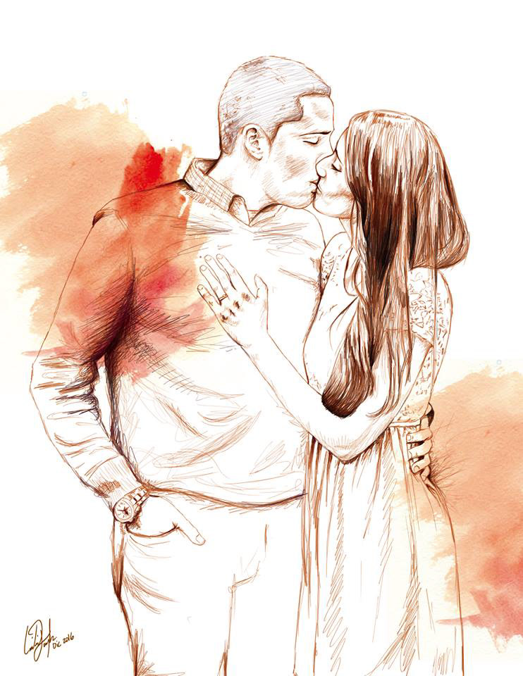 Image may contain: kiss, love and drawing