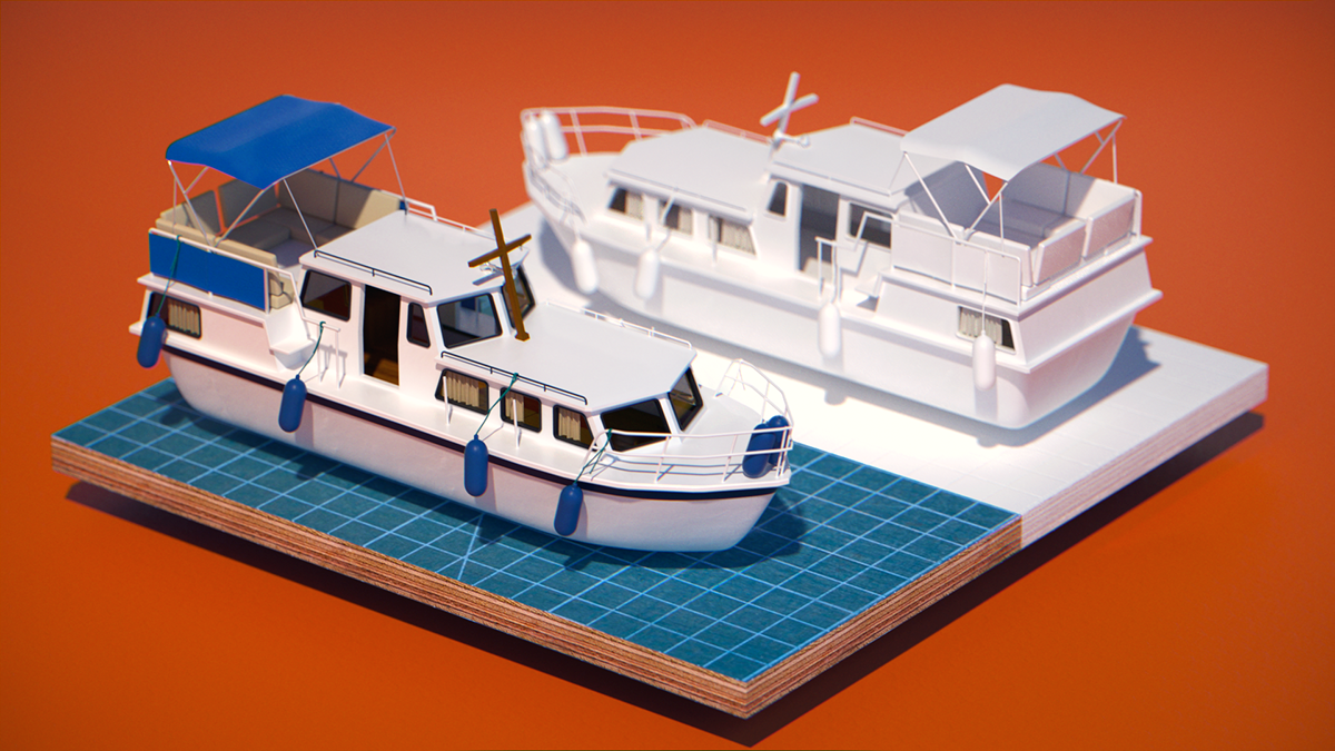 3D boat ship water octane octanerender   otoy ahoy naval abstract waves wet