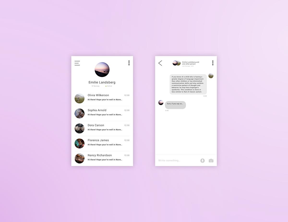 UI ux design Messagin mobile