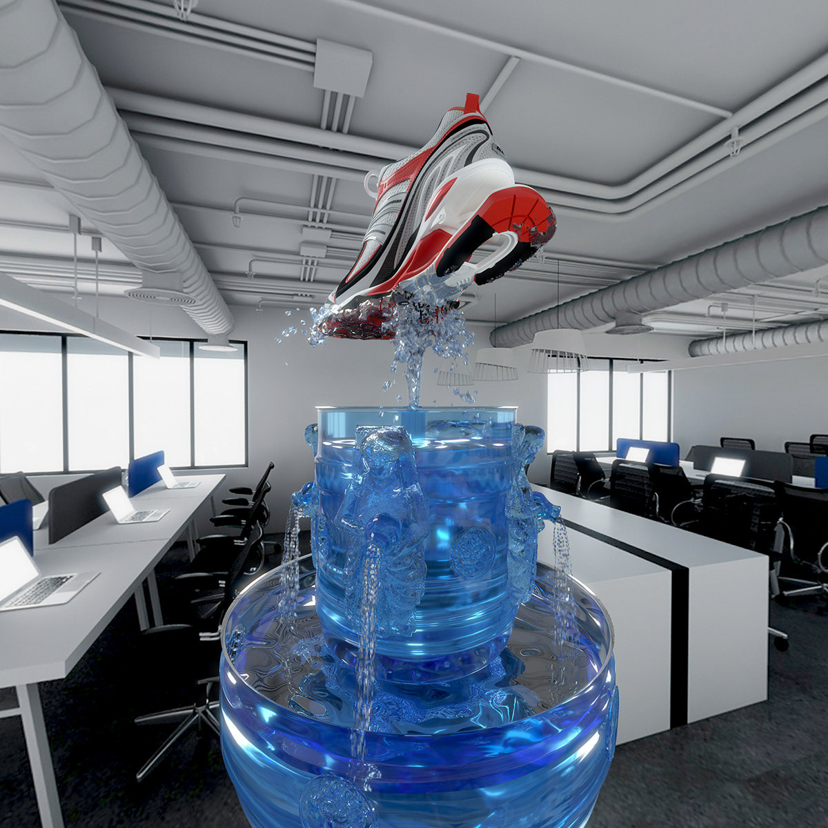 3D art direction  Balenciaga campaign Fashion  fluid luxury motion design particles simulation