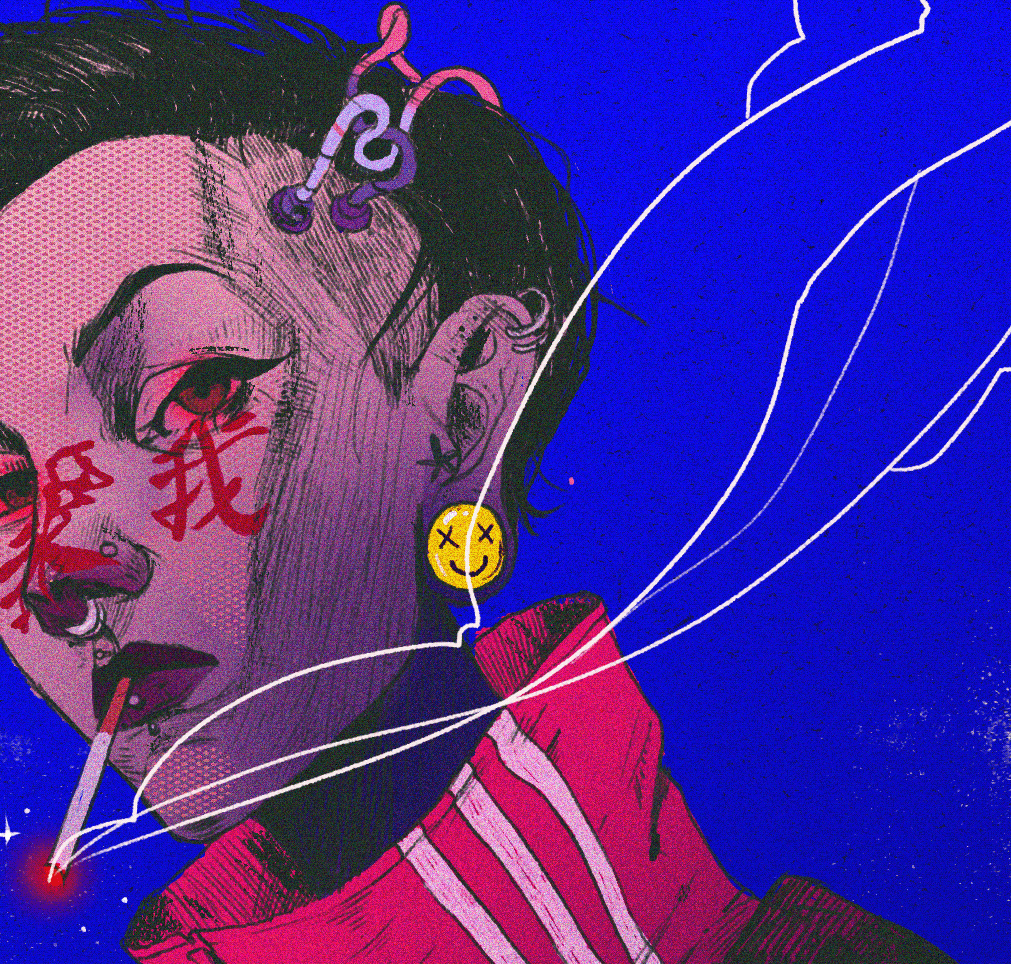 art ILLUSTRATION  cyber Cyberpunk painting   PHTOSHOP comics