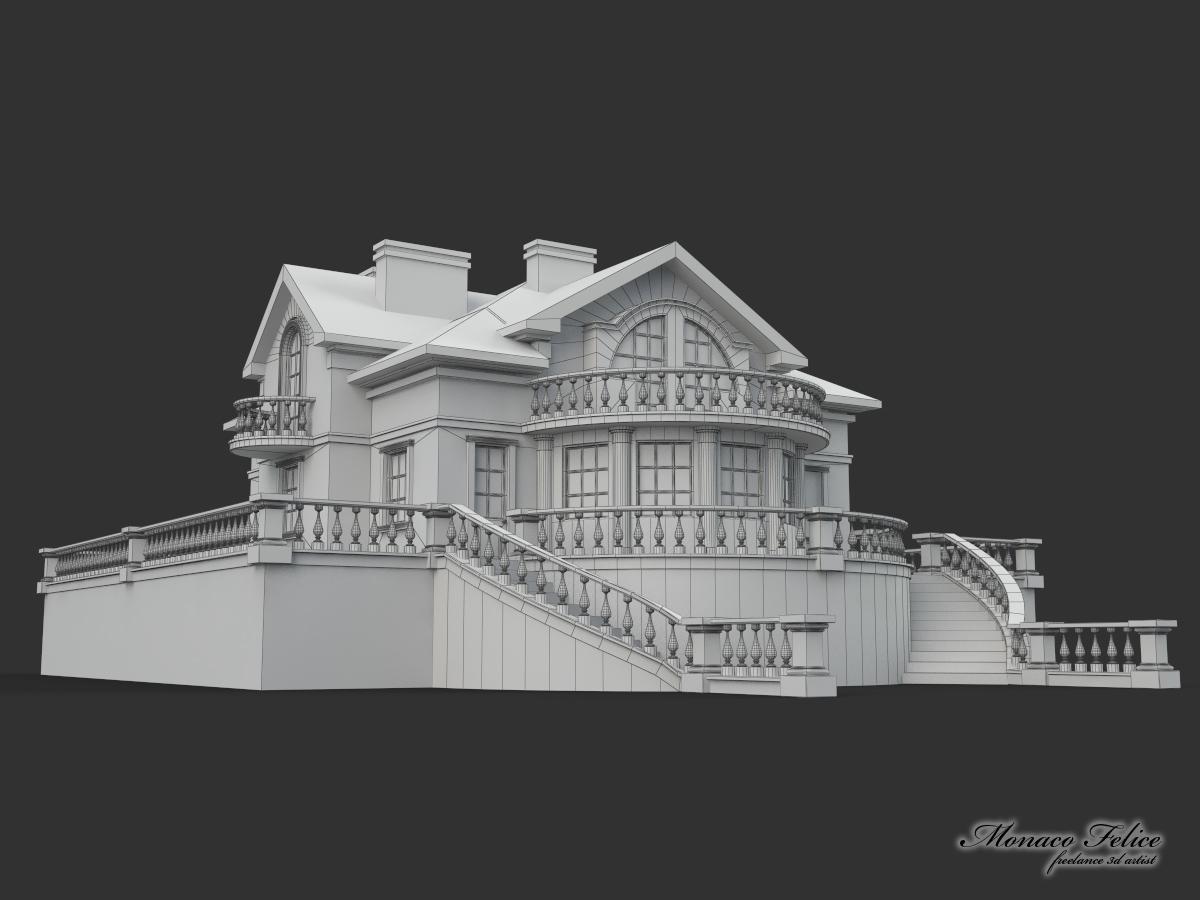 The villa 3d modeling on behance for Villas 3d model