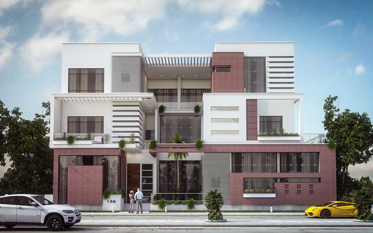 Modern villa elevation design kuwait on behance for Modern villa plans and elevations
