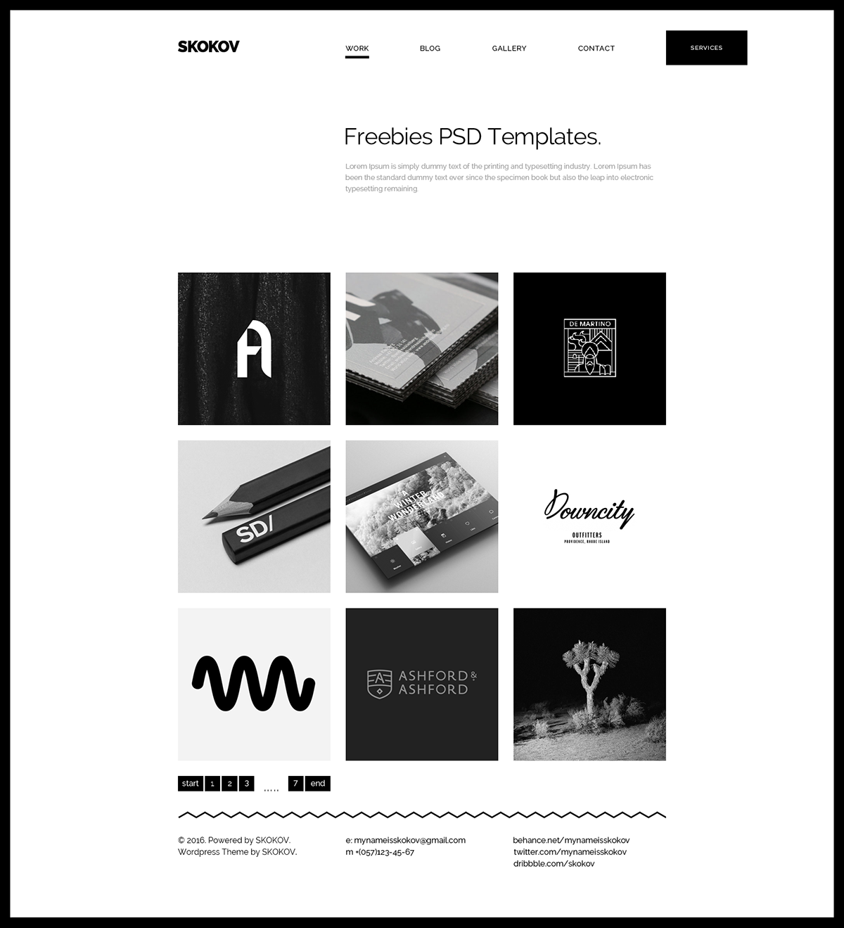 SKOKOV Portfolio - Free PSD Template on Behance