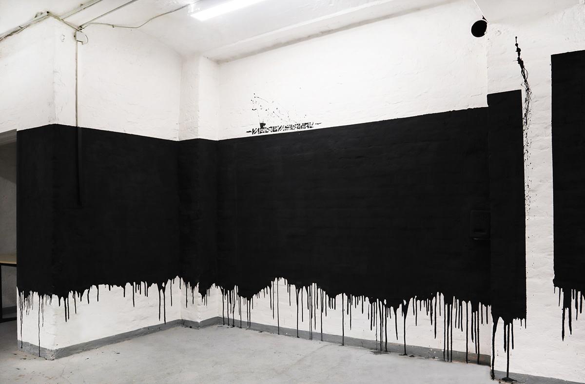 thekrank the krank berlin urban art Exhibition  minimal black and white Mural Street Art