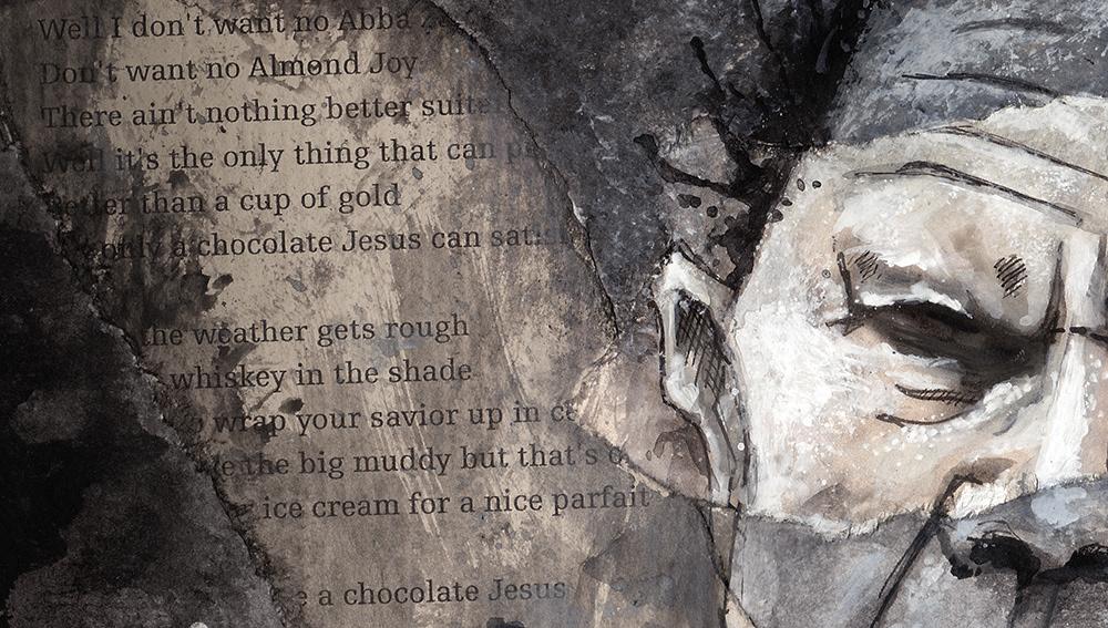 acrylic Chocolat Jesus colage famous ilustration portrait poster Singer tom waits
