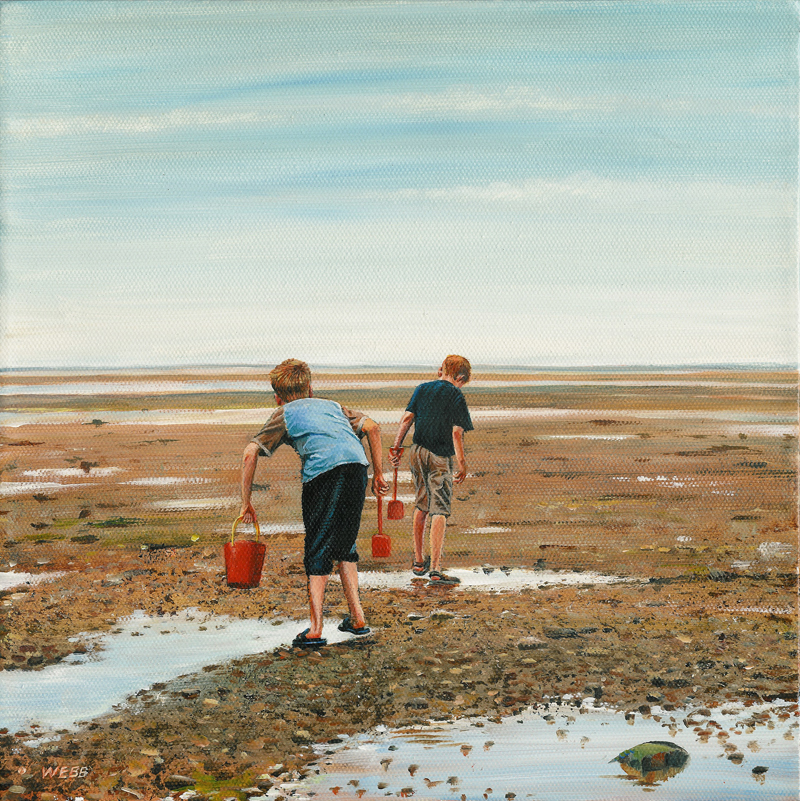 My sons beachcombing on the isle of Wight - acrylics on canvas
