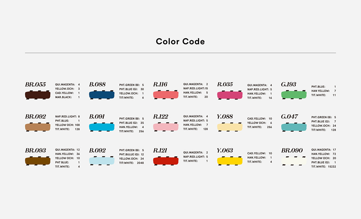 Color code of acrylic painting