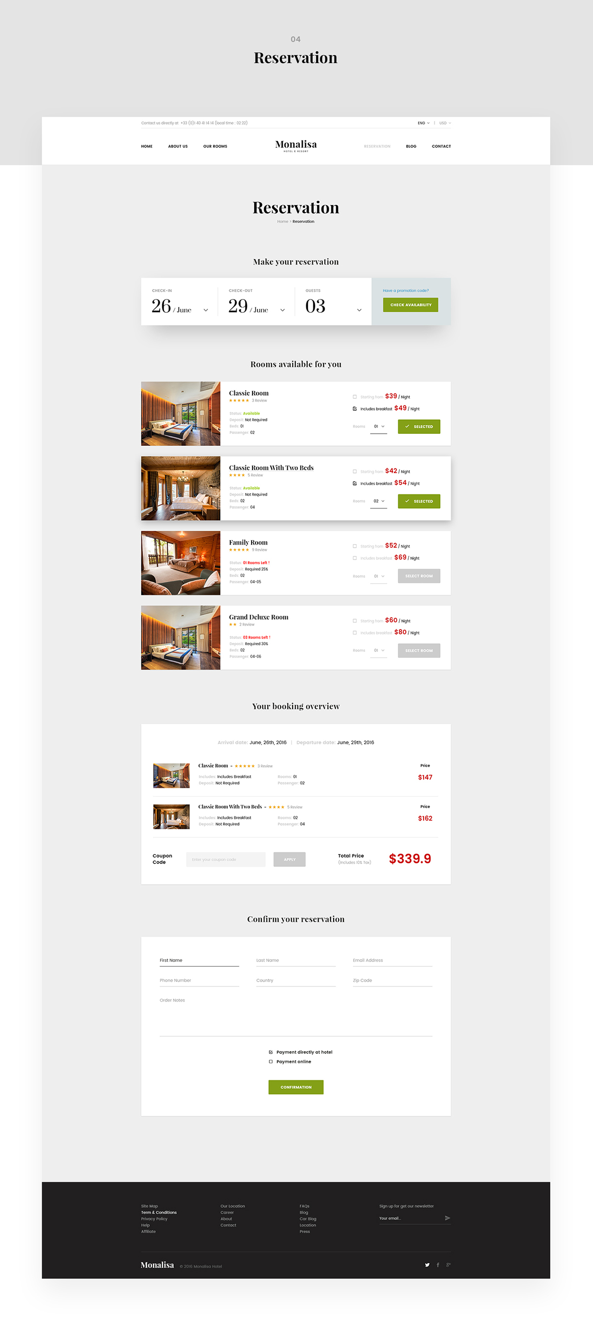 Monalisa booking hotel site on pantone canvas gallery for Hotel web design