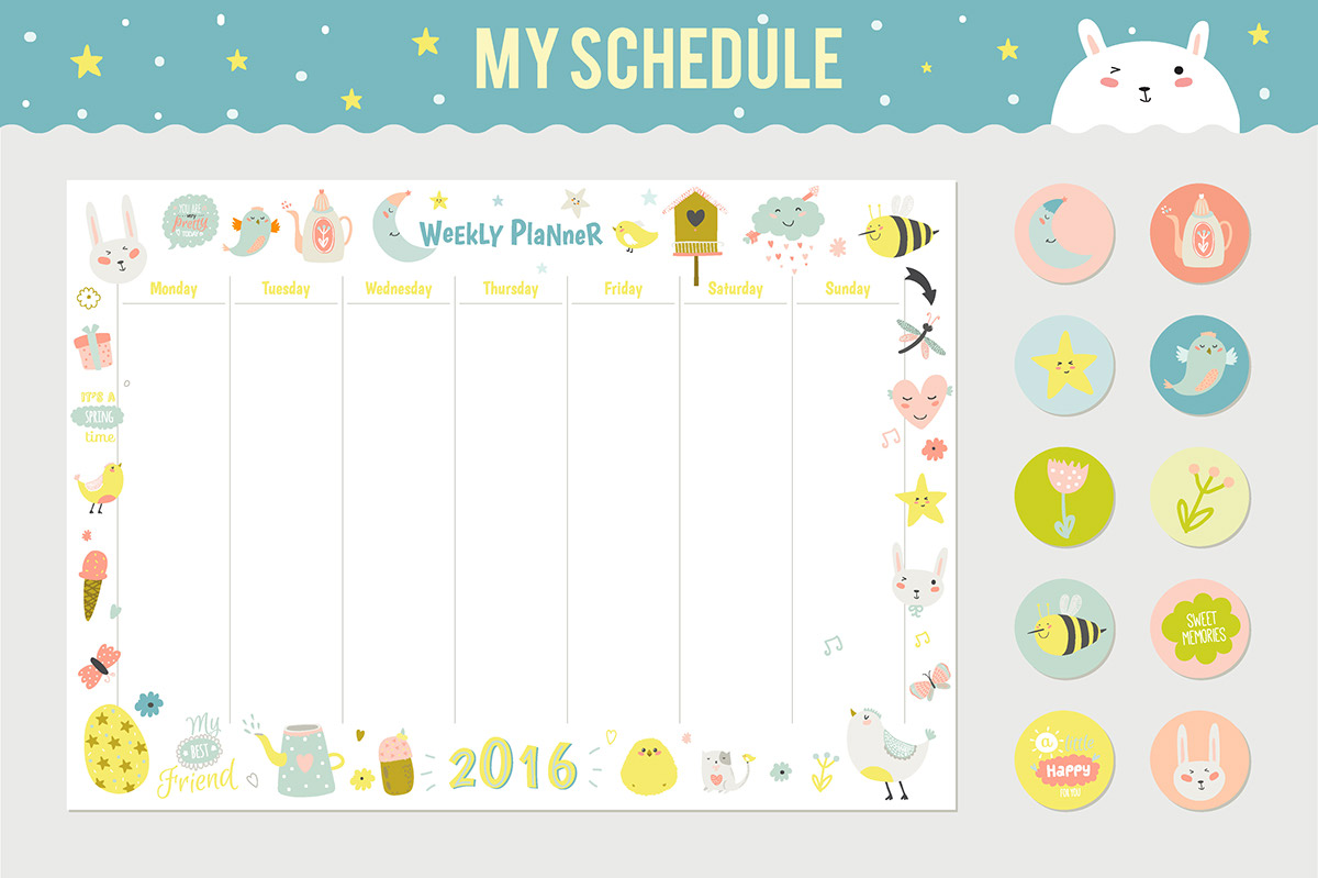 Cute Daily And Weekly Schedule On Behance