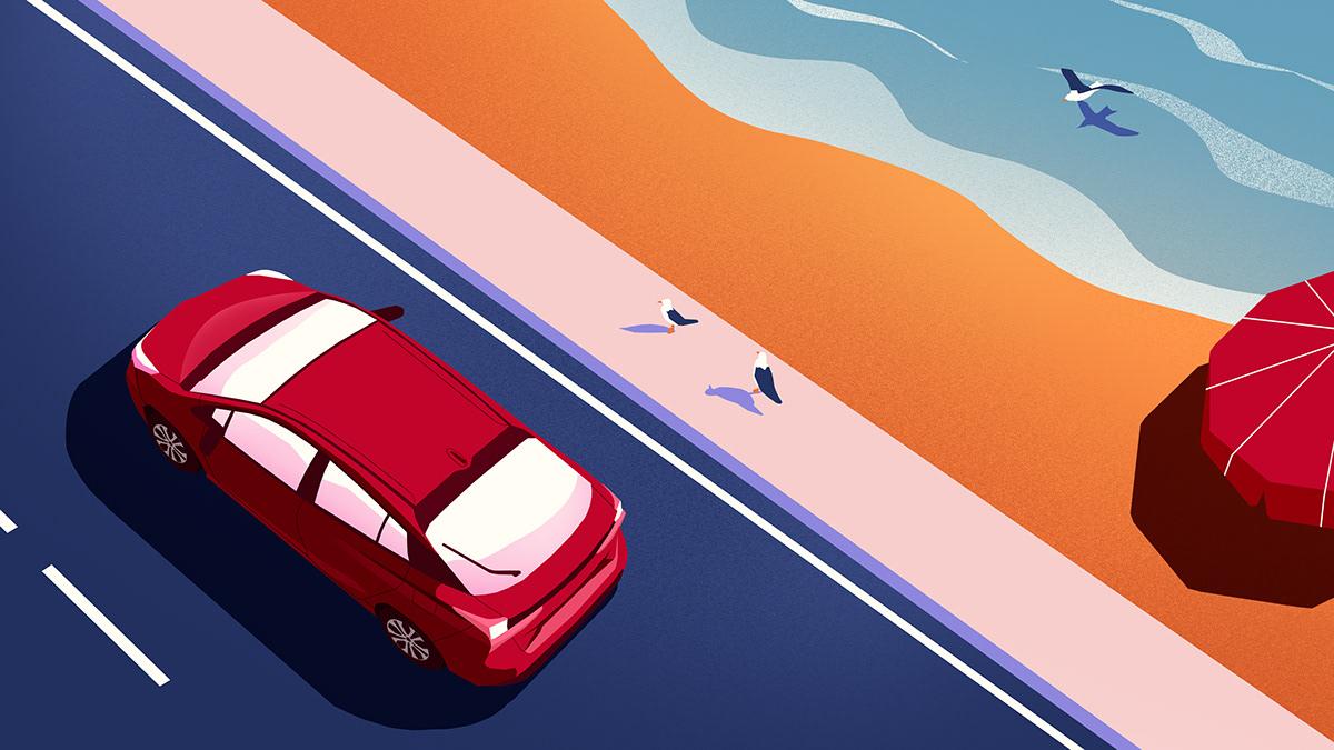animation  car toyota Travel