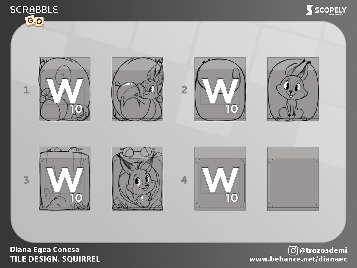 cartoon concept live ops mobile games Scrabble tile Wordgame