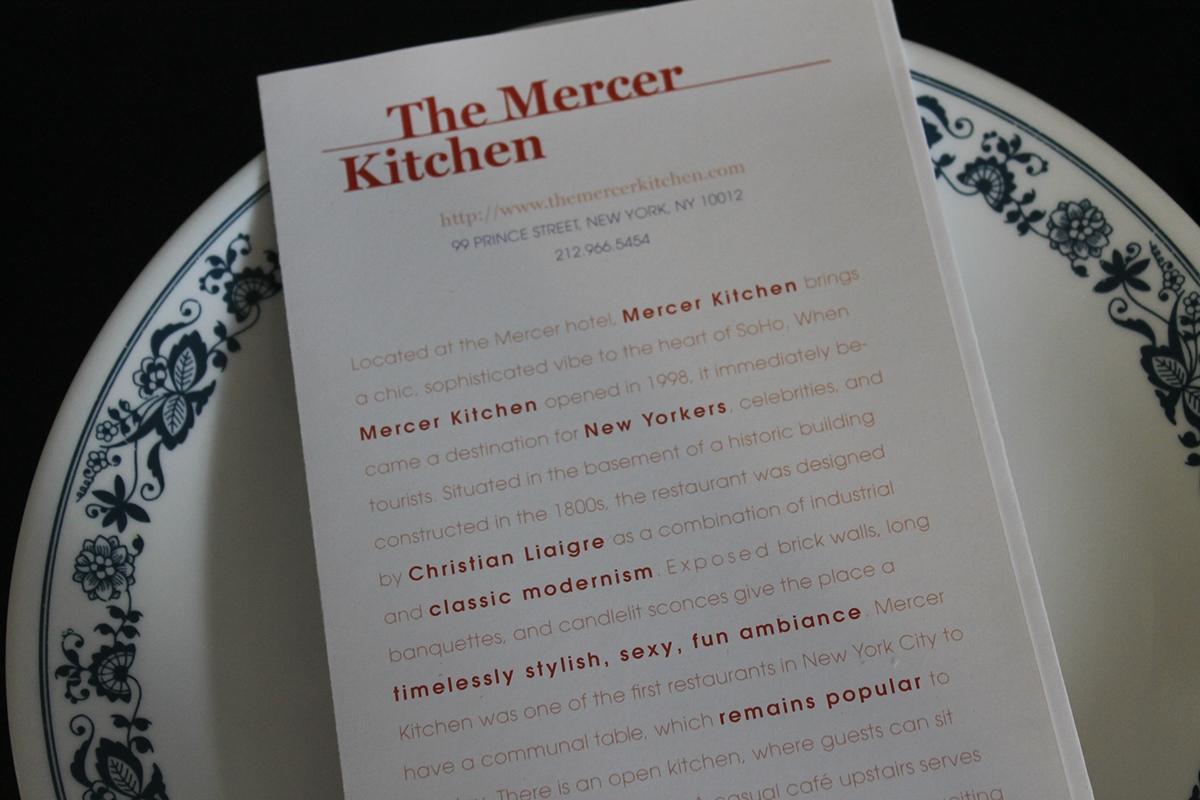 Mercer Kitchen Menu Rebranding On Behance