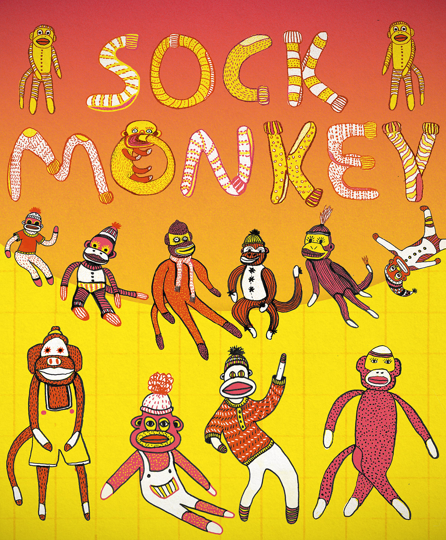 sock monkey color digital sketches photoshop ILLUSTRATION  cartoon art sketch