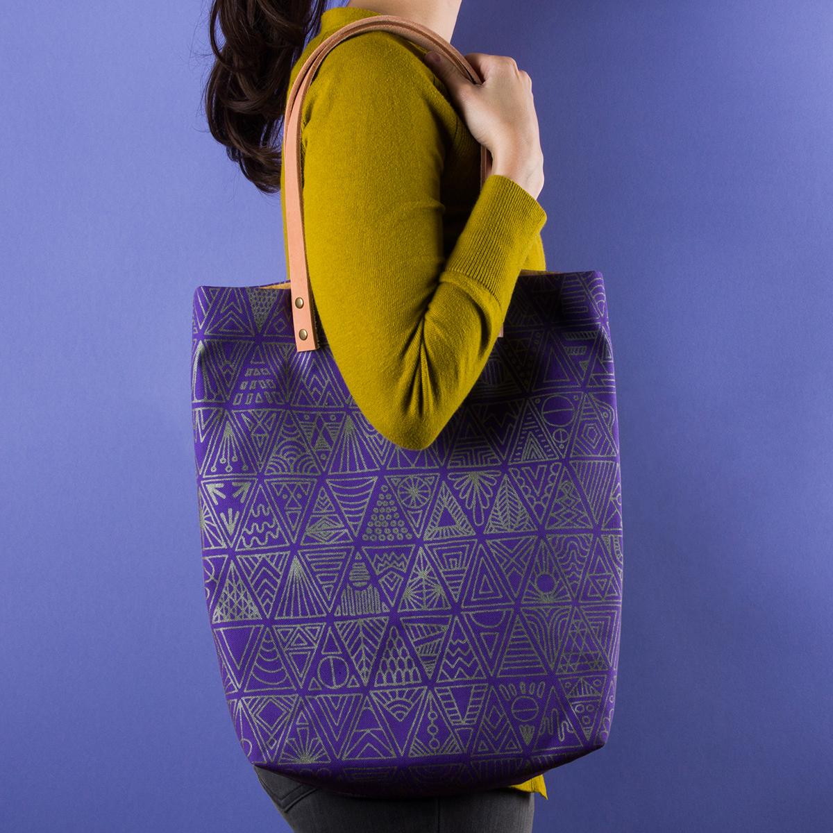screenprint screen print handmade pattern design textile silkscreen Screenprinting Tote Bag