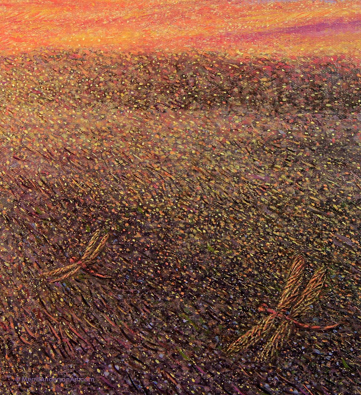 sunset Oil Painting Landscape dragonflies ethereal fine art SKY