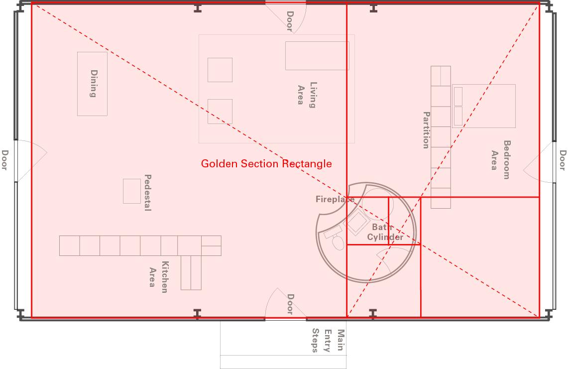 Golden Ratio House Design philip johnson's glass house, golden section analysis on behance