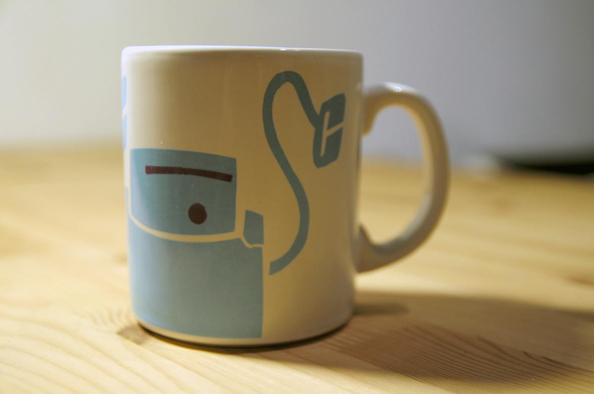 handcut hand made mug design robot