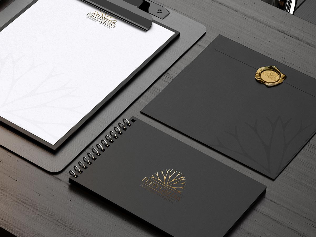 free stationey download psd ID ideantity black dark gold golden forfree mock-up mock up Mockup